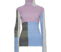 Woman Color-block Marled Ribbed-knit Turtleneck Sweater Purple