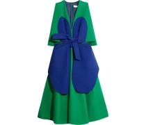 Two-tone cotton-crepe dress