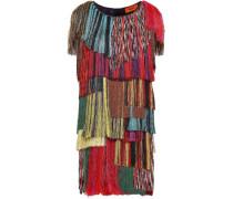Fringed Crochet-knit Mini Dress Multicolor