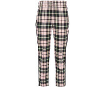 Woman Cropped Checked Woven Slim-leg Pants Baby Pink
