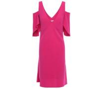 Cold-shoulder Draped Satin-crepe Mini Dress Magenta