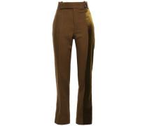 Satin-paneled Wool-twill Straight-leg Pants Light Brown