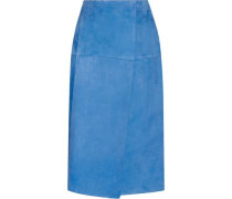 Wrap-effect suede skirt