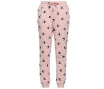 Distressed Printed Cotton-blend Tapered Pants Baby Pink