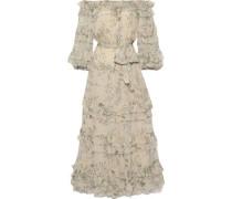Woman Unbridled Off-the-shoulder Floral-print Silk-georgette Midi Dress Sand
