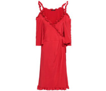 Cold-shoulder Wrap-effect Ruffled Sateen Dress Red