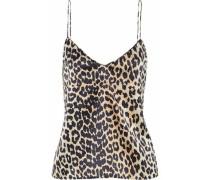 Leopard-print stretch-silk satin camisole