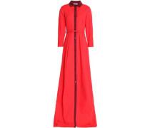 Belted cotton-blend poplin gown