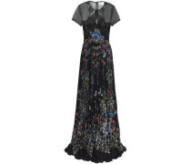 Printed lace and crepe gown