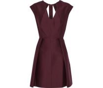 Pleated cotton and silk-blend faille mini dress