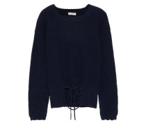 Balere Lace-up Cotton Sweater Midnight Blue