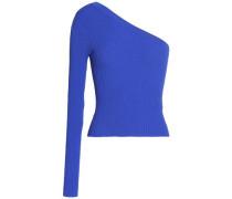 One-shoulder ribbed-knit top
