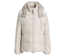 Quilted velvet hooded down jacket