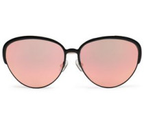 Oval-frame acetate and gold-tone mirrored sunglasses