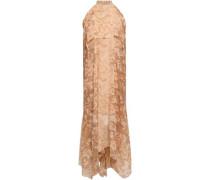 Layered Printed Silk-chiffon Halterneck Midi Dress Cream