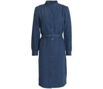 Belted linen and cotton-blend shirt dress