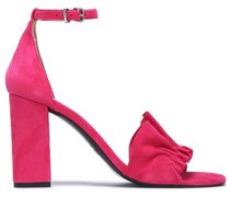 Ruffle-trimmed suede sandals