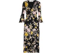 Woman Silas Ruched Floral-print Stretch-mesh Midi Dress Black