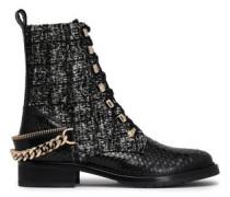 Tweed-paneled python boots