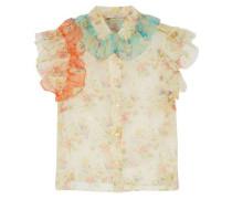 Ruffle-trimmed floral-print silk-chiffon shirt