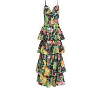 Printed Tiered Cotton-poplin Maxi Dress Multicolor