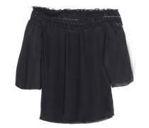 Off-the-shoulder Crochet-trimmed Cotton Top Black