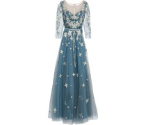 Embellished Tulle Gown Blue