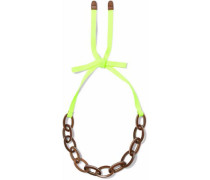 Neon Grosgrain, Wood And Enamel Necklace Bright Yellow Size --