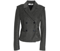 Double-breasted metallic cotton-blend blazer