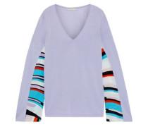Woman Printed Crepe De Chine-paneled Cotton-blend Sweater Lavender