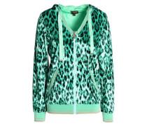 Leopard-print chenille hooded jacket
