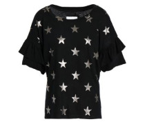 Ruffled Metallic Printed Cotton-jersey T-shirt Black Size 1