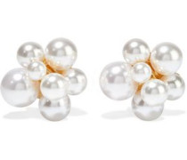 Woman Gold-plated Faux Pearl Clip Earrings Silver