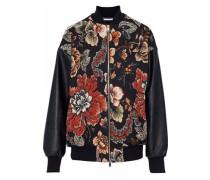 Faux leather-paneled floral-jacquard bomber jacket