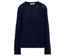 Crystal-embellished Cable-knit Wool And Cashmere-blend Sweater Navy