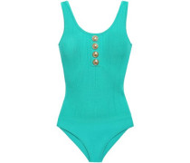 Woman Button-embellished Pointelle-knit Bodysuit Turquoise