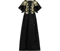 Flared Metallic Embroidered Jacquard Gown Black