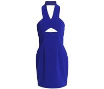 Cutout crepe halterneck mini dress