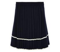 Pleated intarsia wool skirt