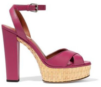 Leather Platform Sandals Fuchsia
