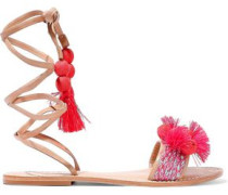 Lace-up embellished leather sandals