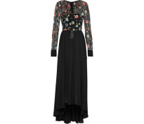 Embroidered tulle-paneled washed-crepe gown