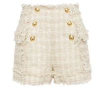 Woman Frayed Bouclé-tweed Shorts Beige
