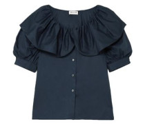 Ruffled Layered Cotton Shirt Navy