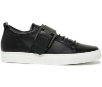 Buckle-detailed Leather Sneakers Black