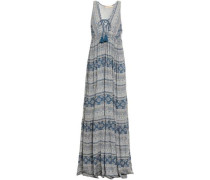 Embellished Printed Gauze Maxi Dress Storm Blue