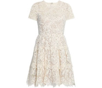 Tiered corded cotton-blend lace dress