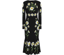 Fluted floral-print stretch-silk midi dress