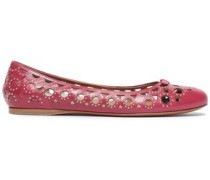 Studded Laser-cut Leather Ballet Flats Magenta