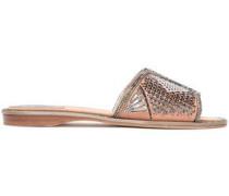 Crystal-embellished Laser-cut Suede Slides Blush